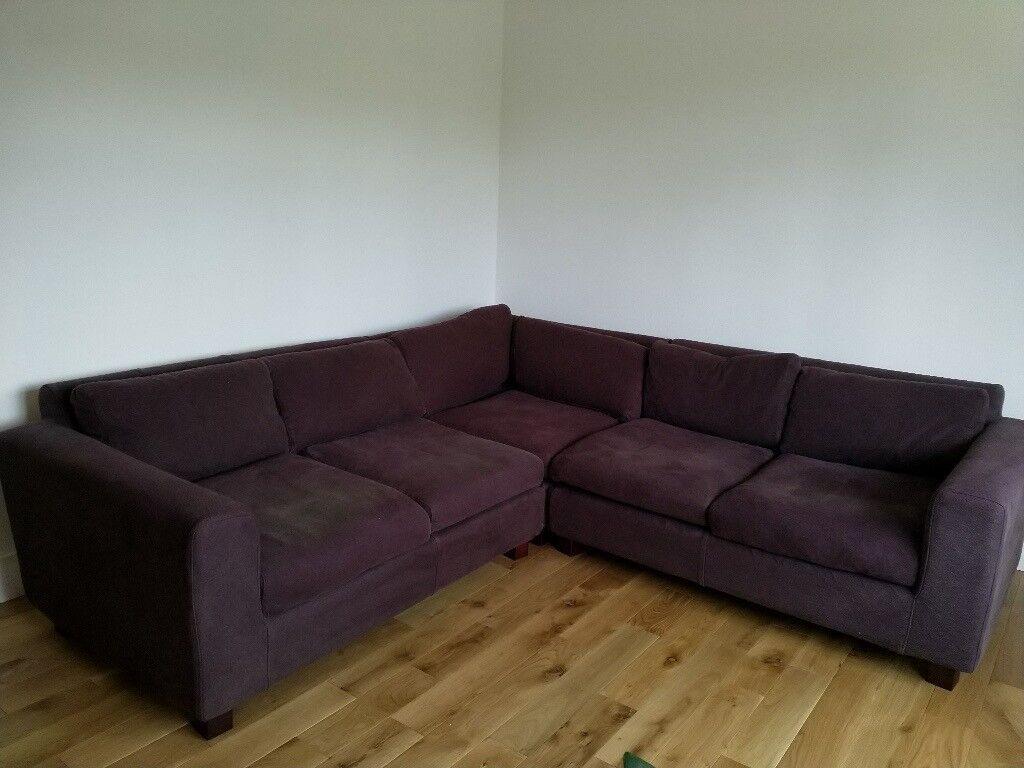 Bon Habitat Utah Corner Sofa, Aubergine Boucle Fabric