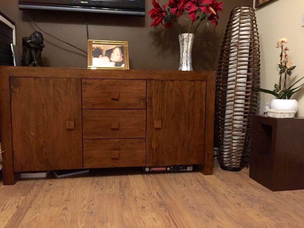 Next Solid Indian Mango Wood Dakota Sideboard Furniture Cupboard Dark Brown