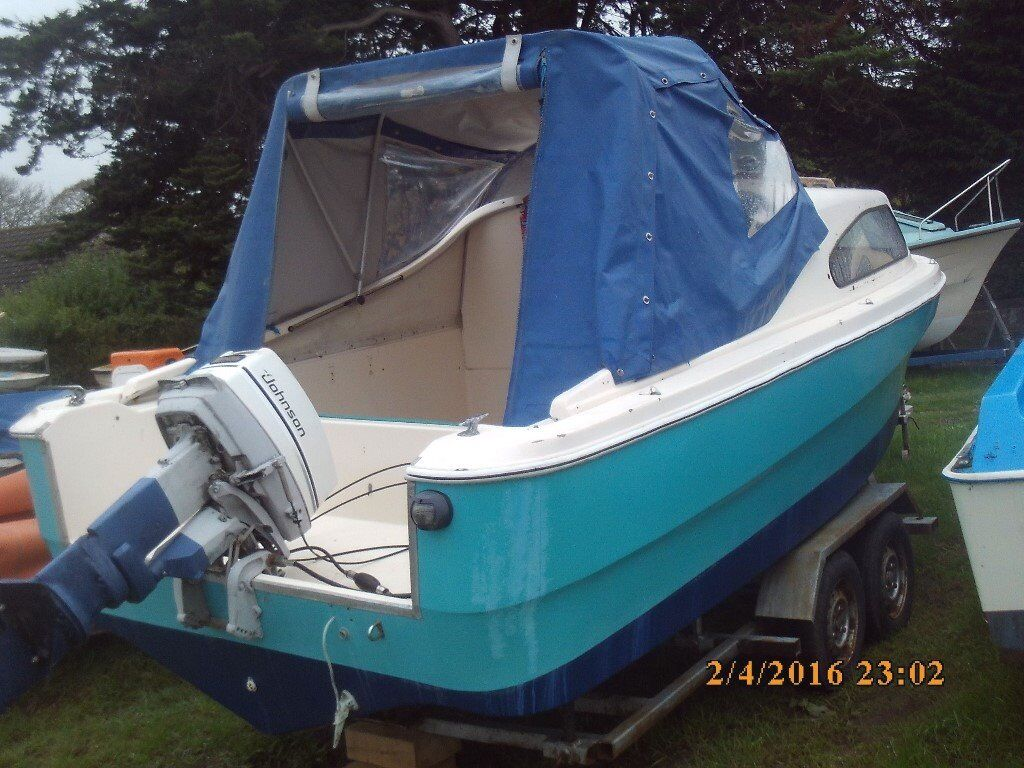 Shetland 536 River / Fishing Motor Boat, Cabin Cruiser 25HP Johnson Outboard