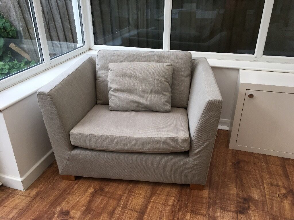 Ikea Stockholm 1.5 Seat Sofa / Very Large Armchair In A Neutral Fabric