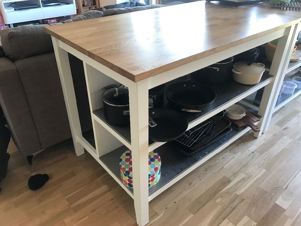 Superb Ikea Stenstorp Kitchen Island White/oak 1.26 X 0.79m Great Pictures