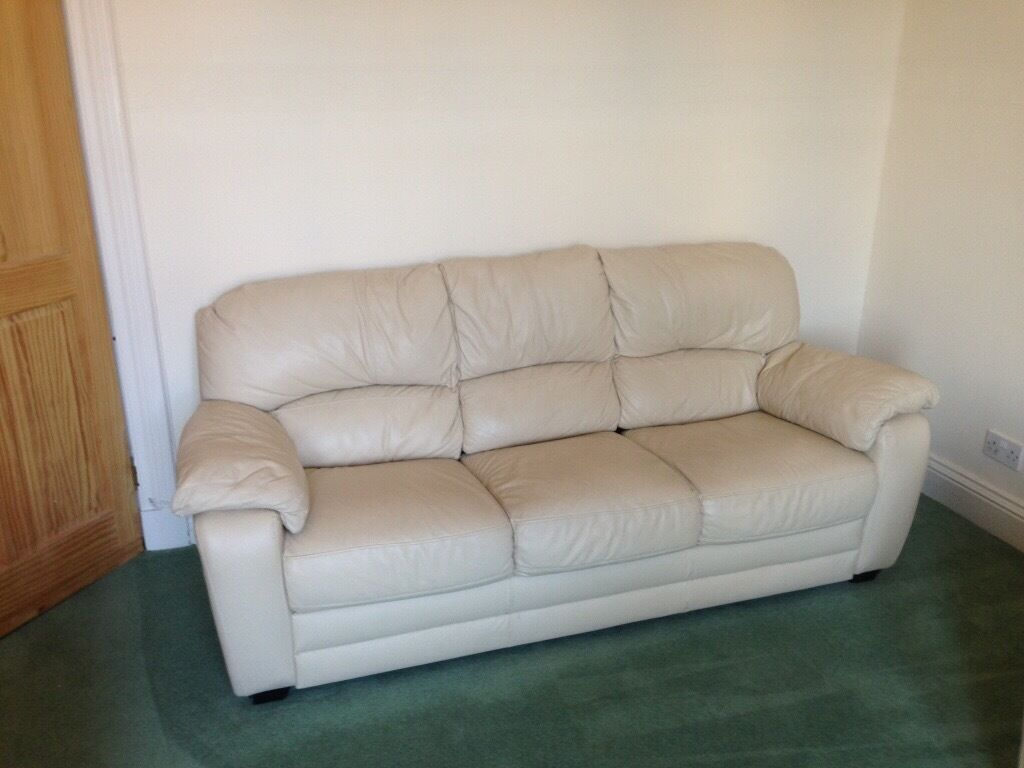 Good 3 Piece Cream Leather Sofa, (3 Seater, 2 Seater And Single Chair Manual