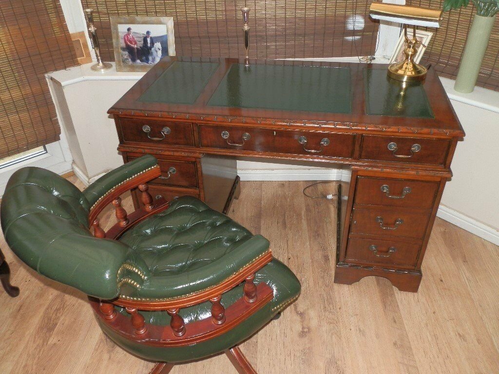 Reproduction Antique Style Leather Desk Matching Chesterfield Captains Chair,  A Truly Fantastic Set