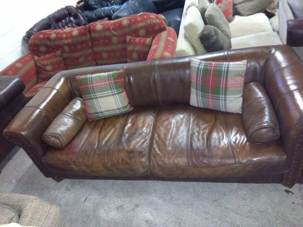 Distressed Thick Leather Sofa Settee Brown Delivery Poss