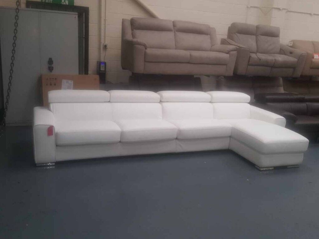 Ex-display Kalamos white leather 4 seater chaise sofa bed : 4 seater chaise - Sectionals, Sofas & Couches