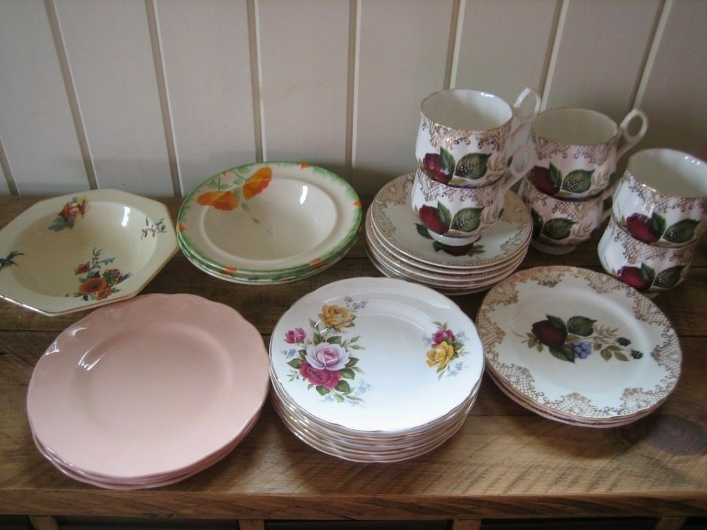 Selection of cups saucers plates etc.Ideal for display & Vintage china. Selection of cups saucers plates etc.Ideal for ...
