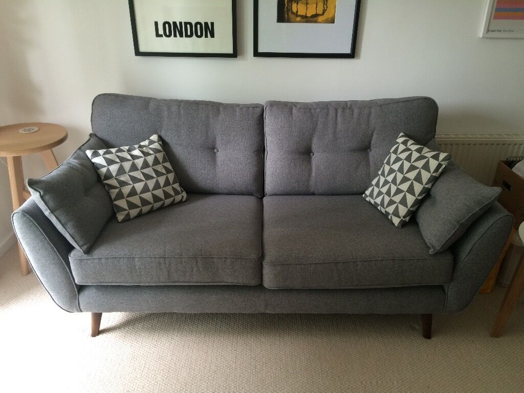 French Connection Zinc 3 Seater Fabric Sofa In Grey