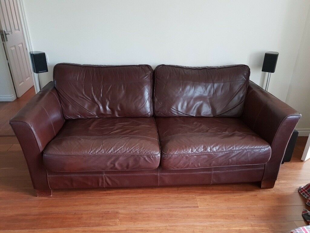 Chocolate Brown Real Leather Sofa   FREE