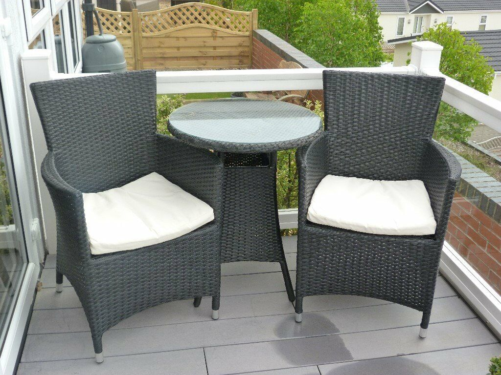 Two Seater Patio Set Part - 47: Two Seater Patio Set, Round Table, Two Seats With Cuchions