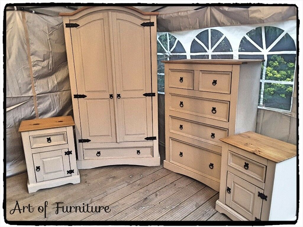 A Set Of Solid Mexican Corona Bedroom Furniture Hand Painted In  Butterscotch Chalk Paint.