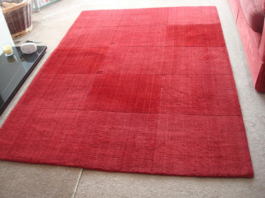 IKEA Hellum Red Wool Rug 140cm X 200cm