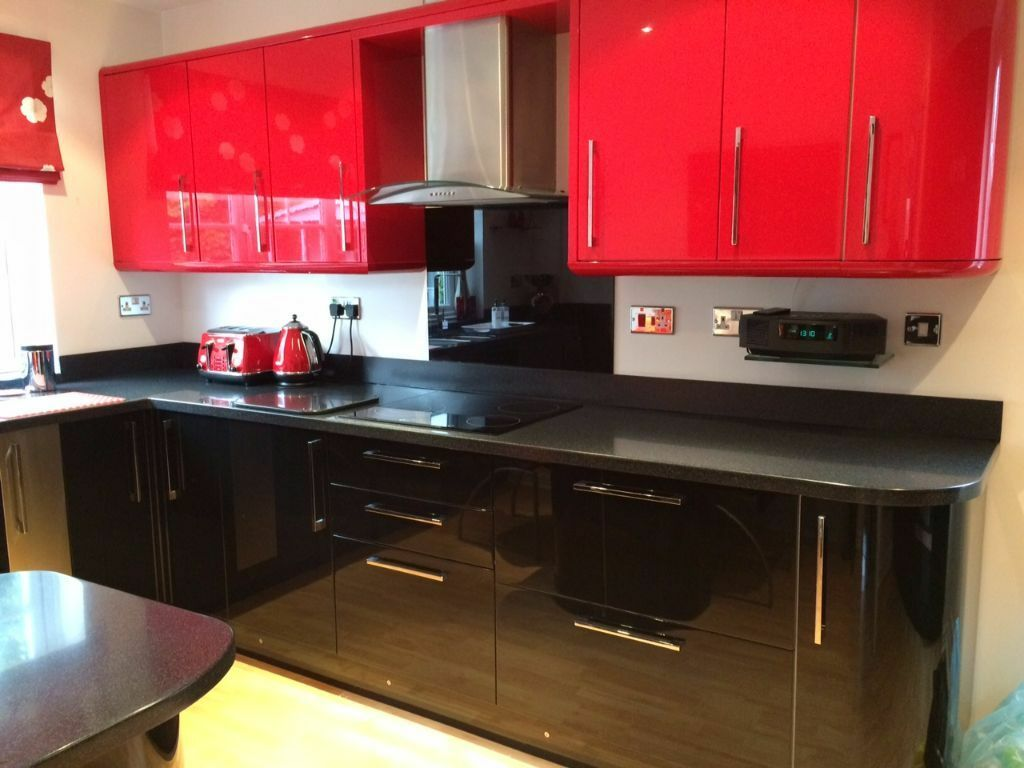 Black And Red Gloss Kitchen Doors, Drawer Fronts And Kick Boards