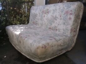 sofa bed with attractive floral zipped cover very comfy and muchloved