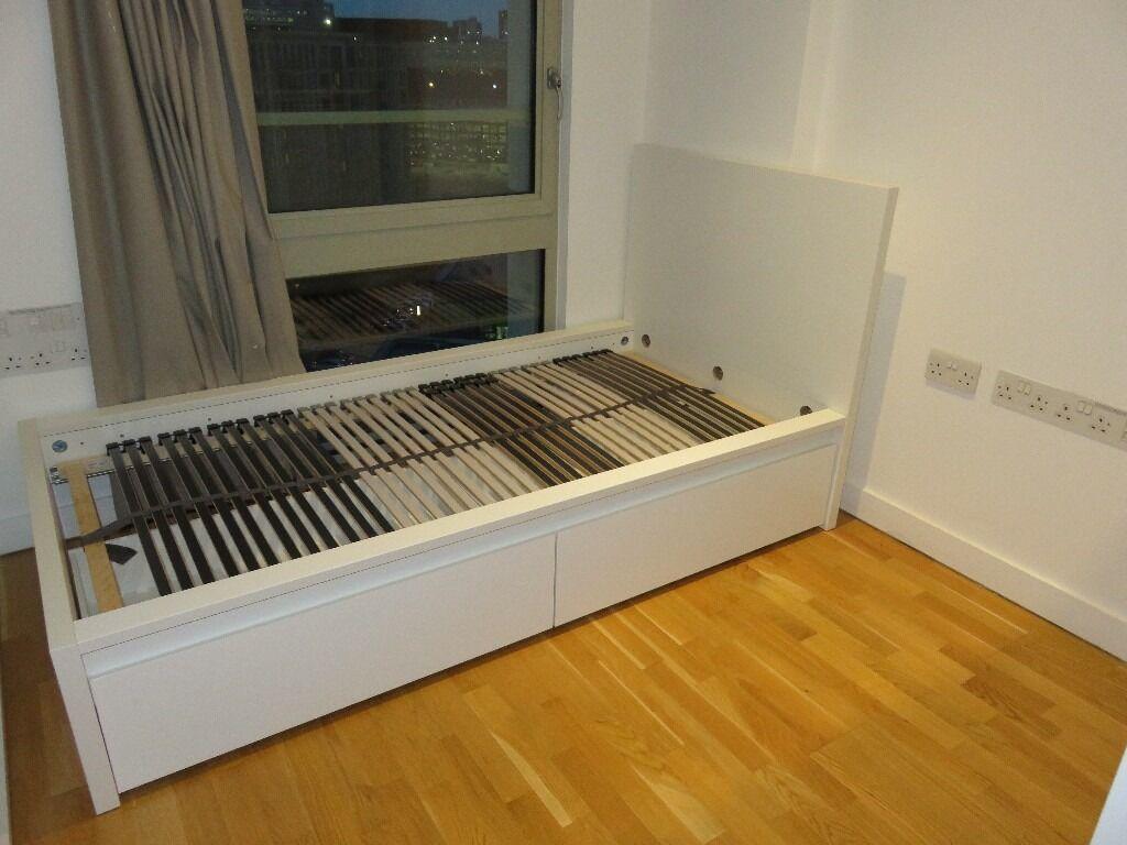 ikea malm bed frame u0026 leirsund slated bed base 6 months old