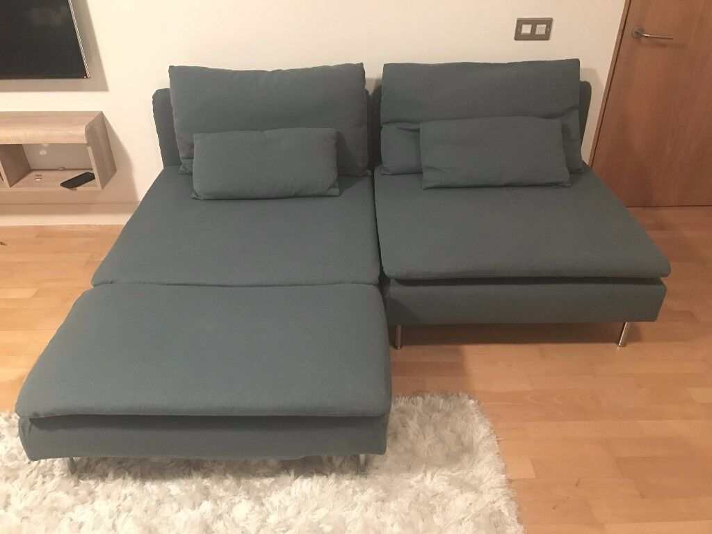 Ikea Soderhamn Sofa Bed Chaise Longue SÖDERHAMN Finnsta Turquoise NEW