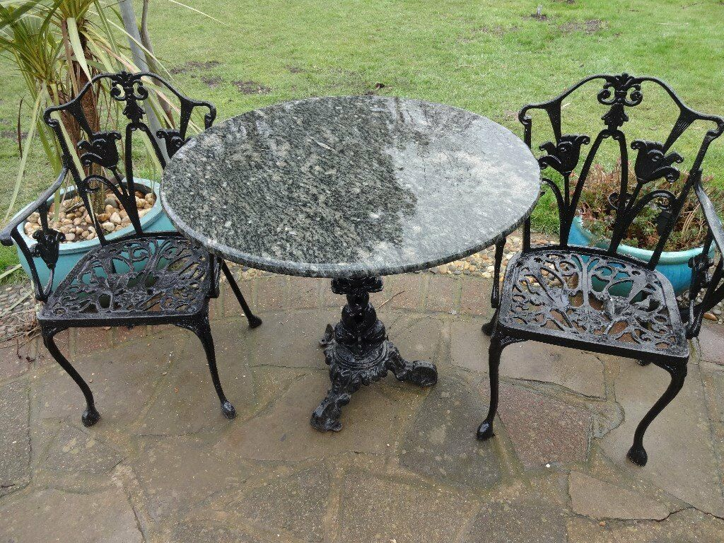 MARBLE TOP TABLE WITH CAST IRON BASE + 2 CAST IRON CHAIRS    GARDEN /
