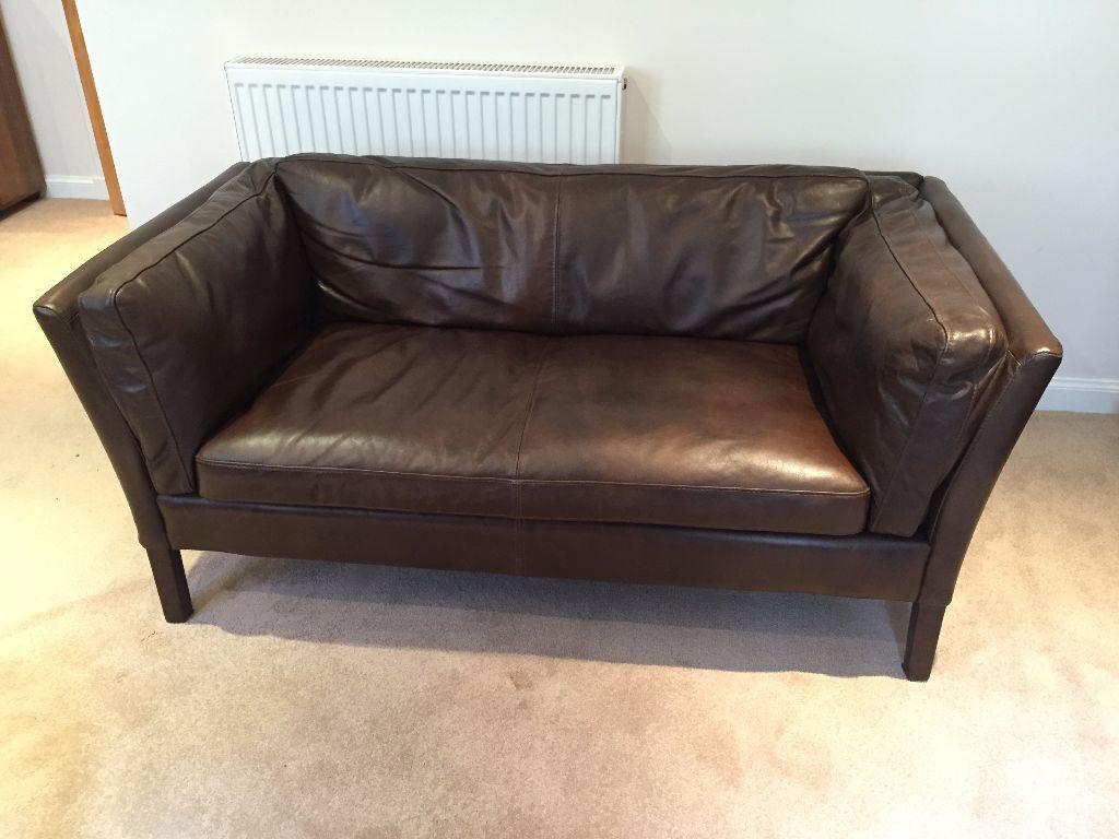 John Lewis Halo Groucho Small Aniline Leather Sofa, Old Saddle Cocoa