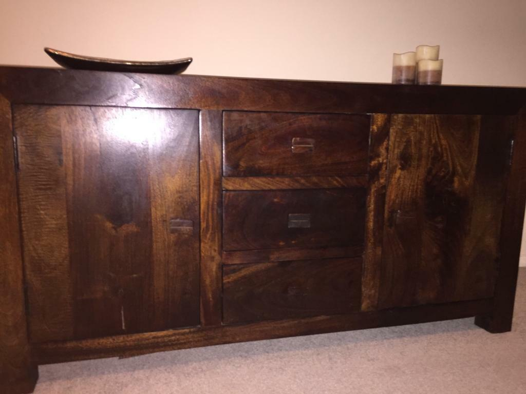 Dakota Solid Dark Wood Mango 3 Drawer 2 Door Sideboard