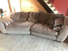 Sofa 4 Seater Long Grey With Cushions