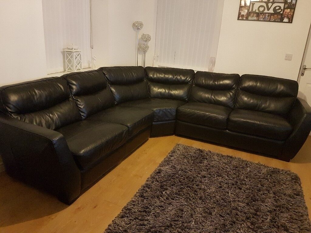 Large Black DFS Curved Corner Sofa
