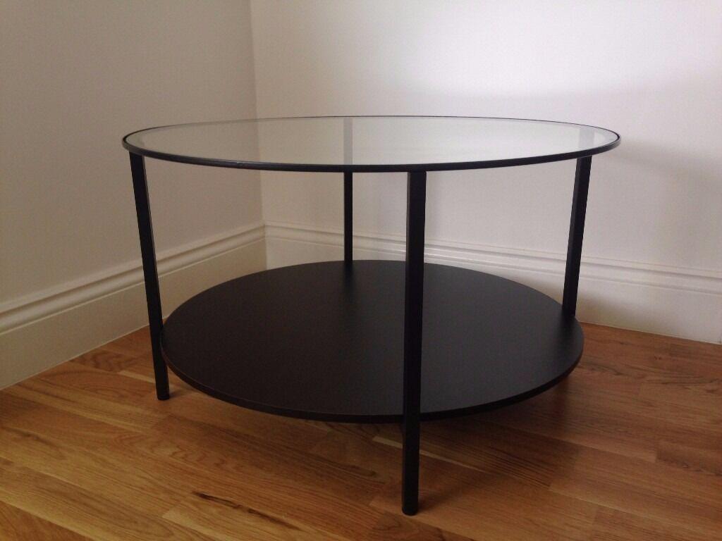 VITTSJÖ Coffee Table Ikea (Used) Glass Brown Black Round Vittsjo