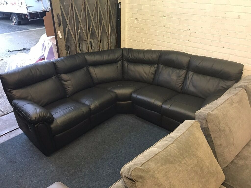 littlewoods leighton black real leather recliner corner sofa 56 seater cheap second hand bargain