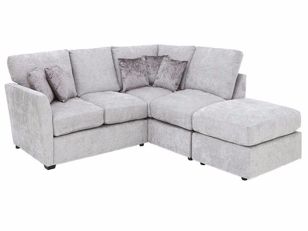 littlewoods cavendish lara fabric l shape corner rigth chaise end sofa silver grey 56