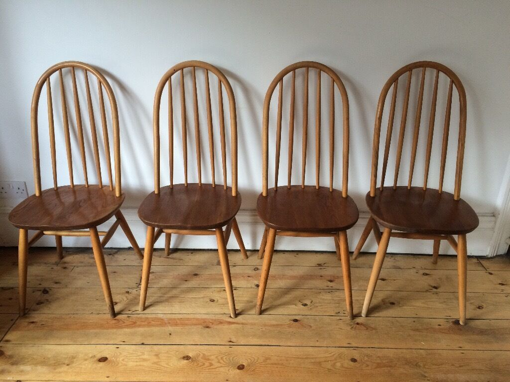 Vintage Ercol Style Quaker Stick Back Chairs X 4 Natural Colour Wear And  Marks