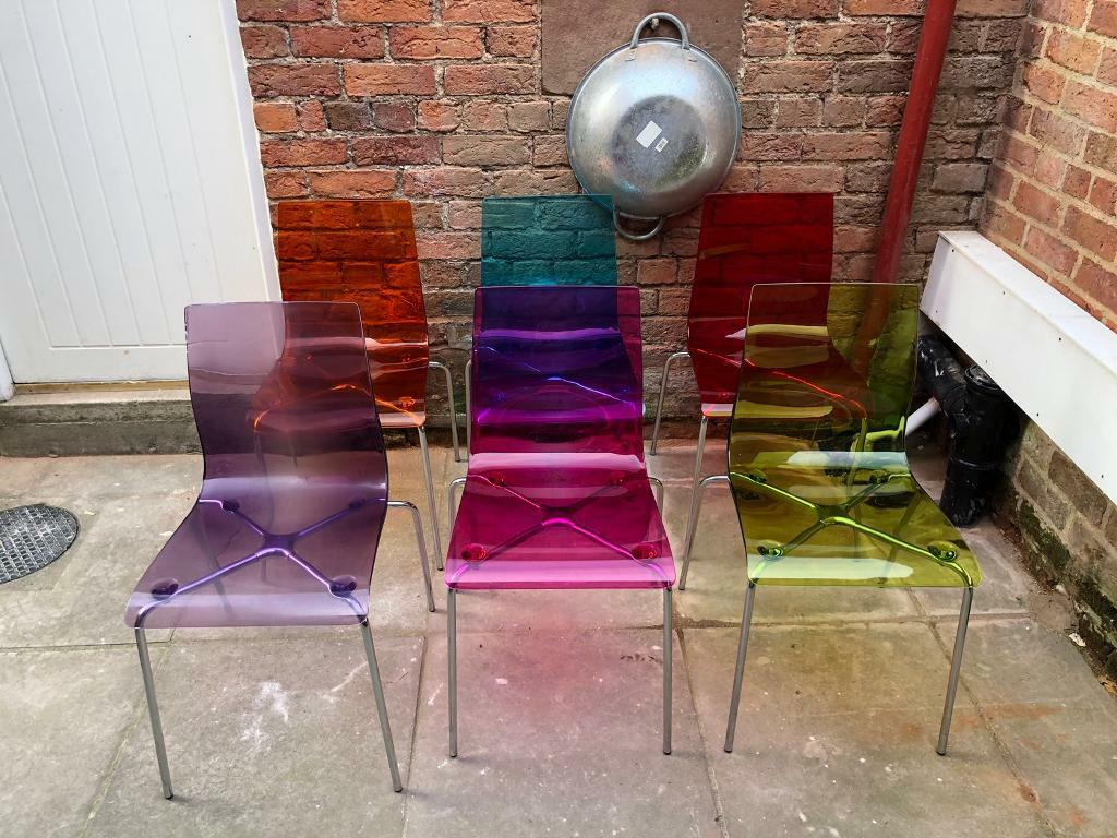 *SOLD* John Lewis Jewel Coloured Perspex Dining Chairs