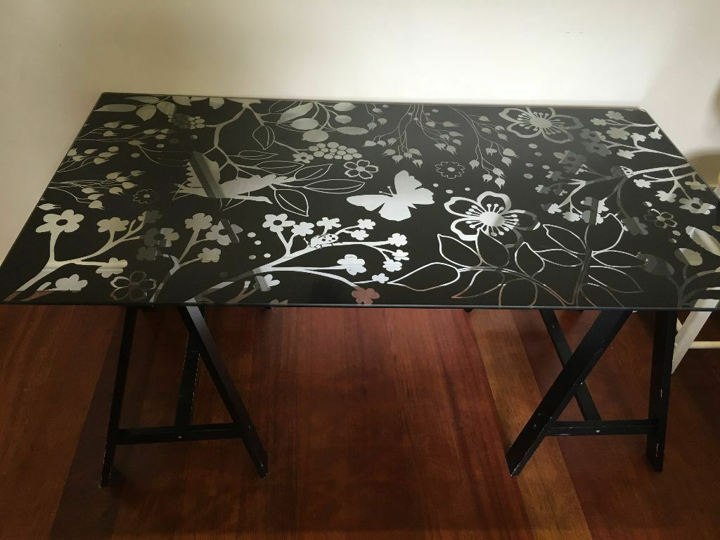 Ikea Glasholm Oddvald Gl Table Top Fl Design Black Wooden Trestles Desk Or