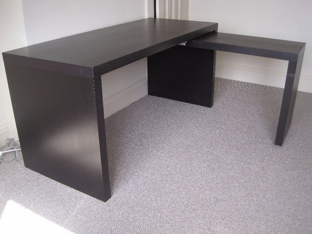 Gentil Ikea Malm Desk And Pull Out Side Office Table Workstation Black Brown