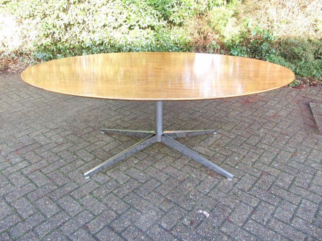 Original Vintage Retro 60s Florence Knoll Oval Rosewood Dining Table / Desk  Mid Century Retro