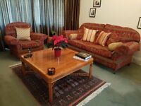 large coffee table in yew finish