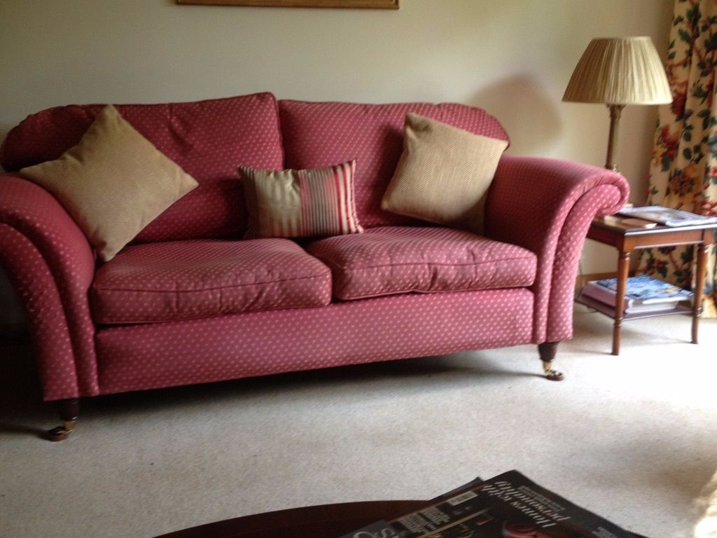 LAURA ASHLEY 2 3 SEATER SOFA ON CASTERS FEATHER CUSHIONS REMOVABLE MACHINE  WASHABLE COVERS
