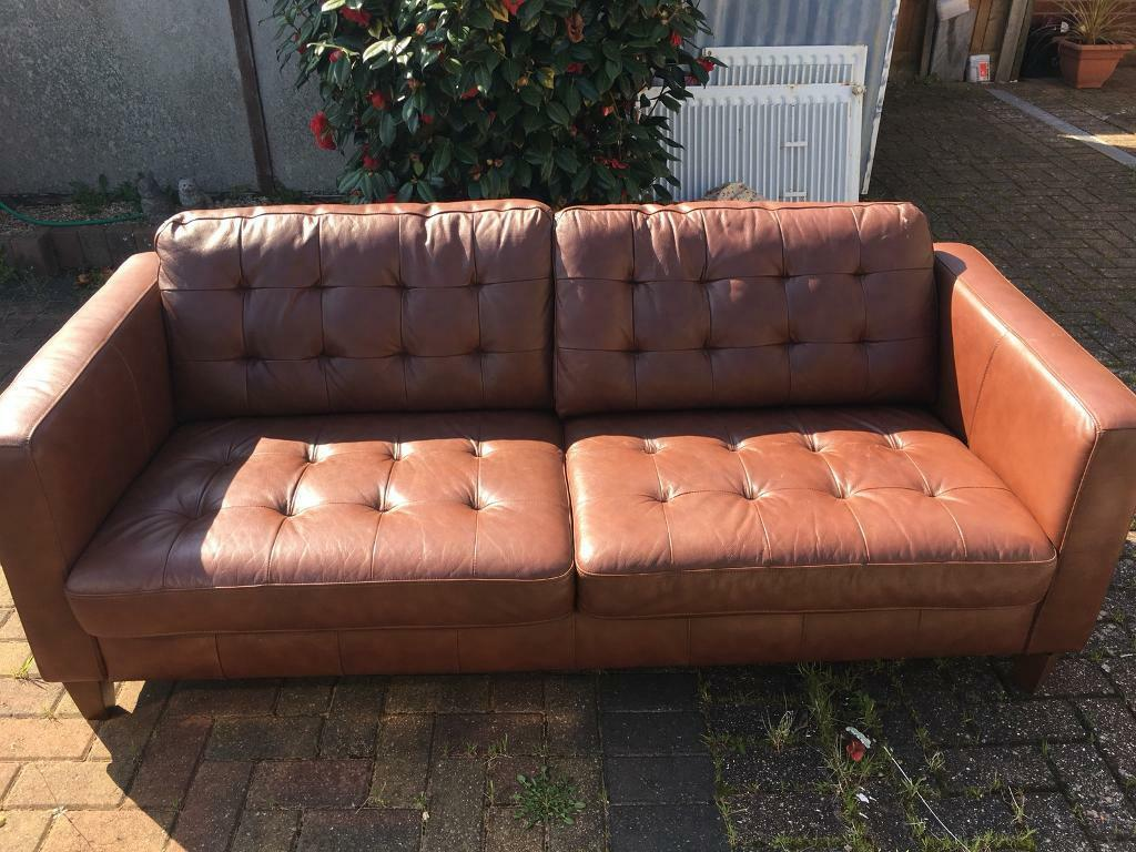 Merveilleux Light Brown Leather Sofa NOW SOLD