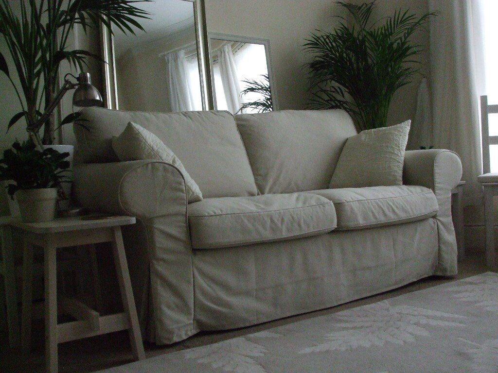 2 Seater Sofa, Little Used, Light Beige Loose Covers, Ikea Ektorp