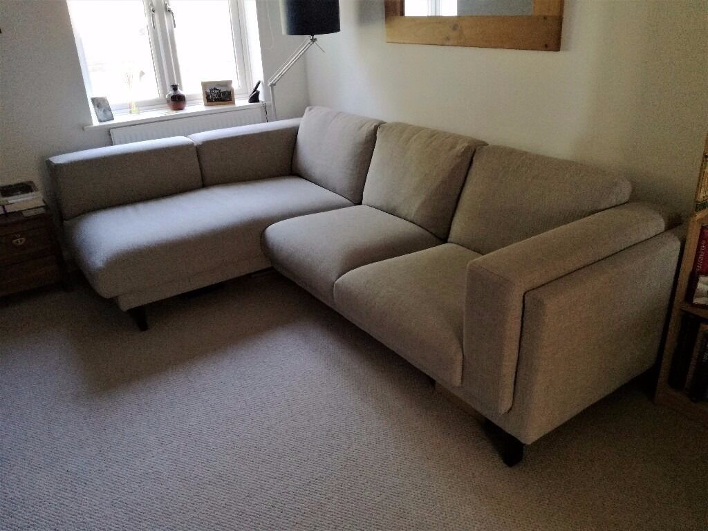 Charming Like New Condition: IKEA NOCKEBY Sofa With Chaise Longue On Left
