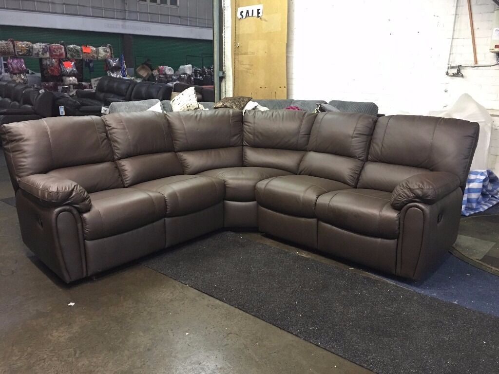 littlewoods leighton brown real leather recliner corner sofa 56 seater manual chocolate