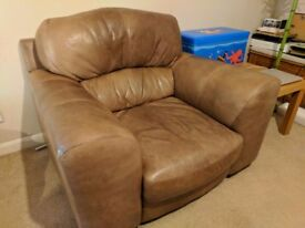 Italian Leather Sofa (Big Armchair And 4 Seater)   FREE!
