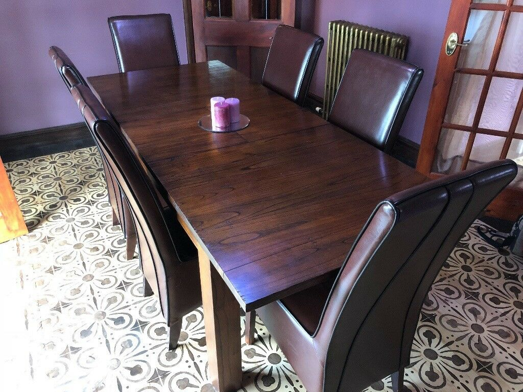 Brown Hard Wood Extendable Dining Room Table With 6 Chairs