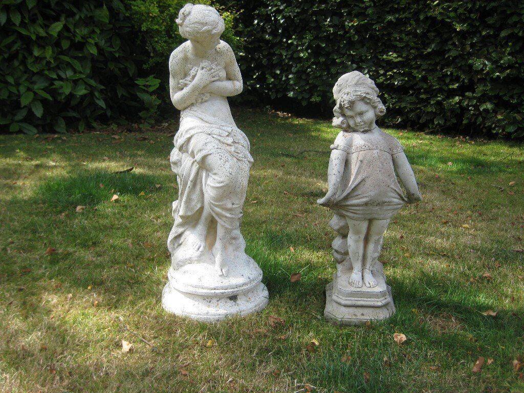 Two Garden Statues/ornaments, Greek Girl U0026 Victorian Girl