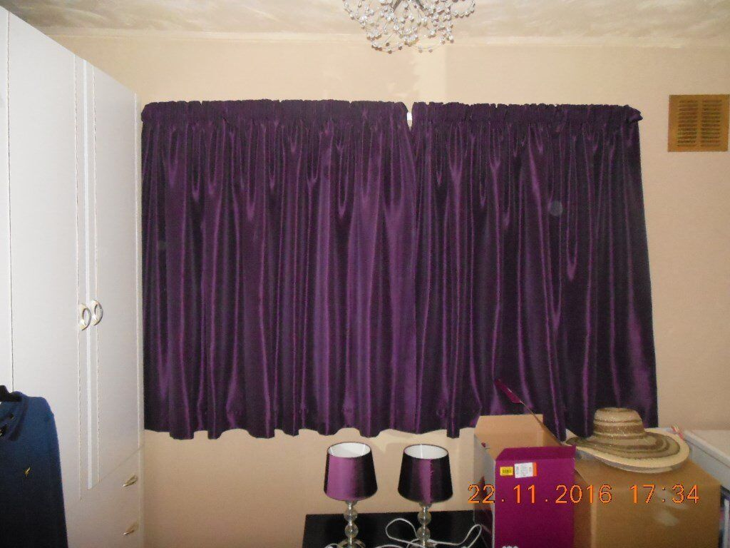 Pair Of Purple Pencil Pleat Dunelm Curtains   54 Inch Drop X 90 Inch    Excellent