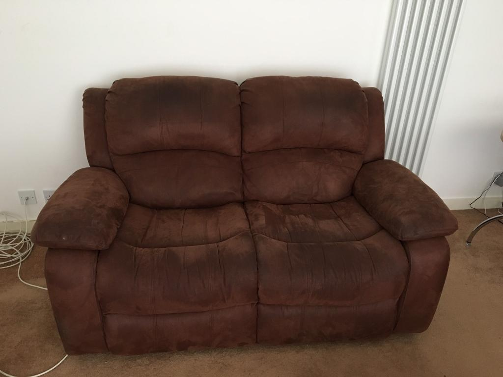 Brown Suede Recliner Sofa Suite