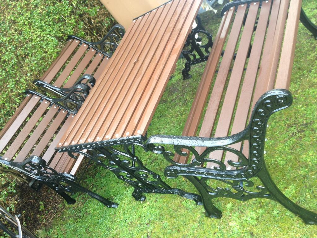 Lovely Ornate Cast Iron And Hardwood Garden Furniture Set Table Bench And 2  Chairs
