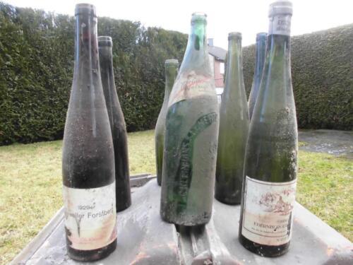 7 Uralte Leere Weinflaschen 20er 30er Jahre, 1 Saftflasche Deko In Frechen