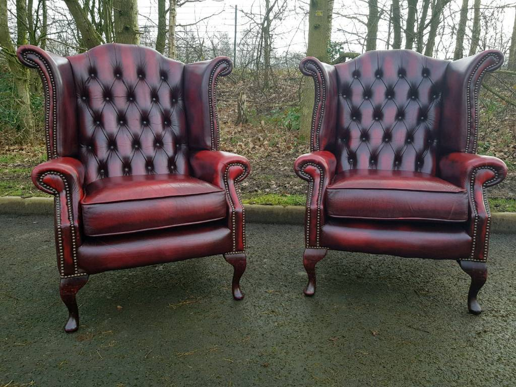 Elegant Pair Chesterfield Genuine Oxblood Leather Wingback Chairs. EXCELLENT  CONDITION! BARGAIN!