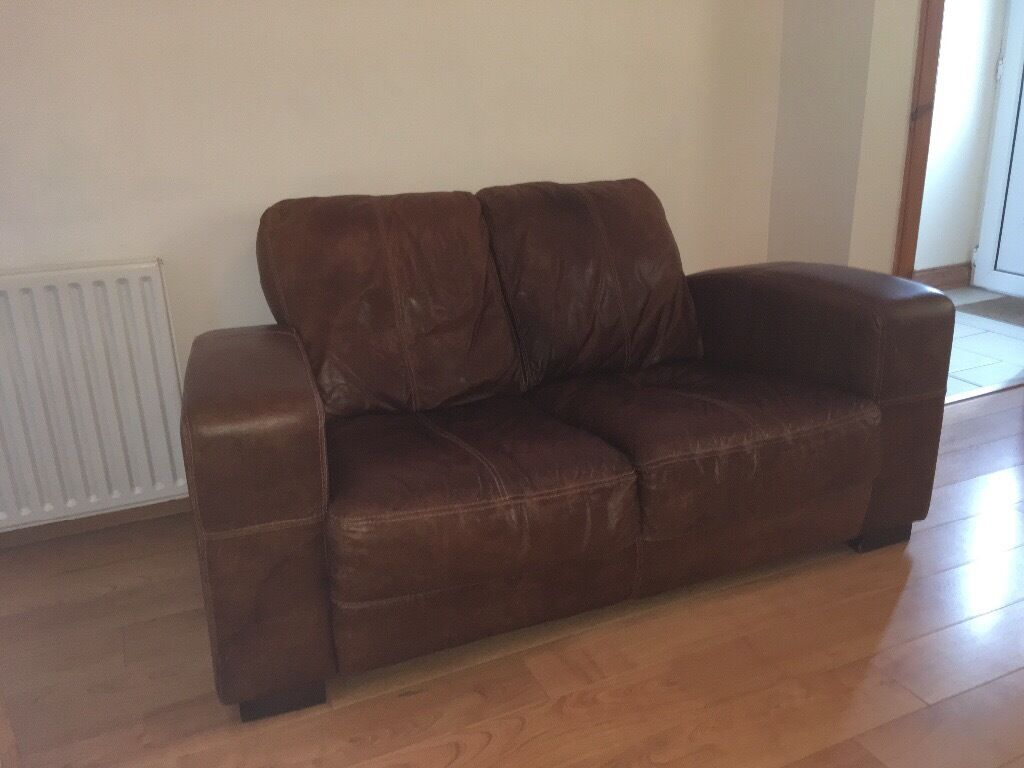 dfs tan leather sofa ranch caesar 2 seater sofa and armchair good condition