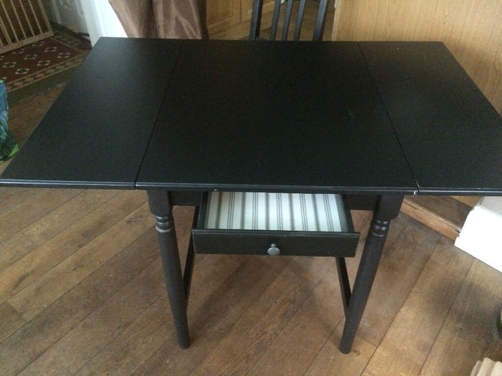 Dining Table And 2 Chairs: Dark Wood, Drop Leaf Table (Ikea Ingatorp)