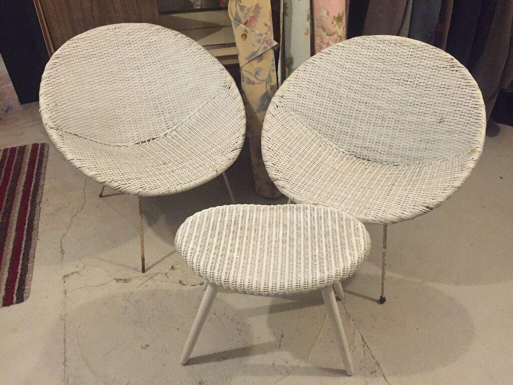 Original 1960s Pair Of White Plastic Wicker Tub Chairs Metal Sputnik Legs U0026  Foot Stool