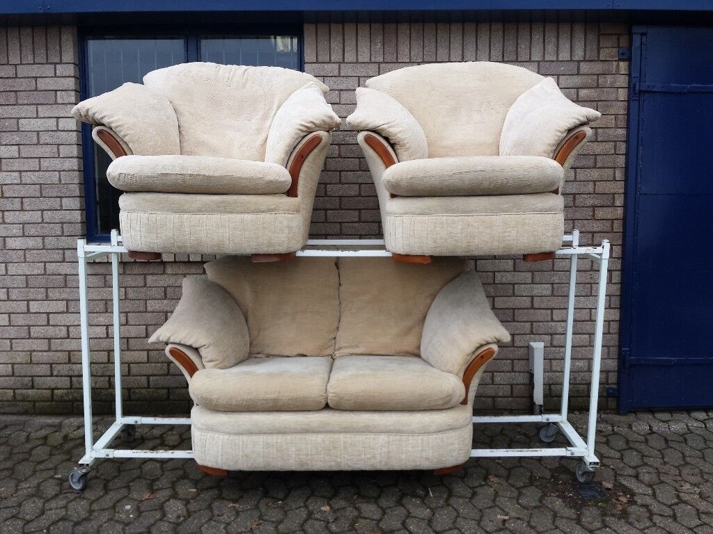 Beige Fabric 2 Seater Sofa And 2 Armchairs Suite (with Removable And Machine  Washable Covers